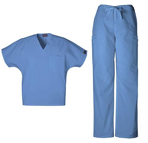Cherokee Workwear Men's Dental/Medical Uniform Scrub Set - 4777 V-Neck Scrub Top & 4000 Drawstring Cargo Pants (Ciel - Large/Medium)