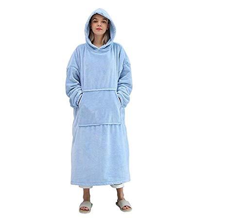 Long Fleece Blanket Hoodie Sweatshirt mit Ärmeln Adult Cosy Soft Winter Warm Wearable Robe Shawl Throws Decke für Betten Sofa Blue