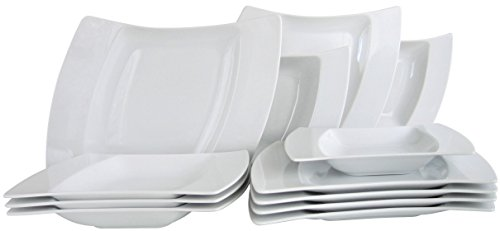 CreaTable 13456, Serie Wing weiß, Geschirrset Tafelservice 12 teilig