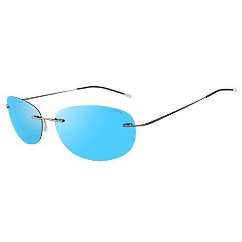 RONSOU Gafas de Sol Polarizadas a La Moda Coloridas y Sin Montura Titanio para Hombres y Mujerse Marco Gris Lente Azul (reflejado)