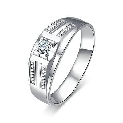 Bishilin Platino, Clásico Estilo 0.14 Diamante Anillo de Al