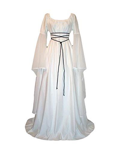 PengGengA Vestito Vestito Cosplay Medievale da Donna Abito Lungo retrò Costume di Halloween Bianco M
