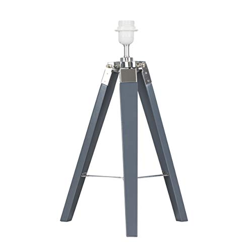 Modern Grey Wood and Silver Chrome Tripod Table Lamp Base