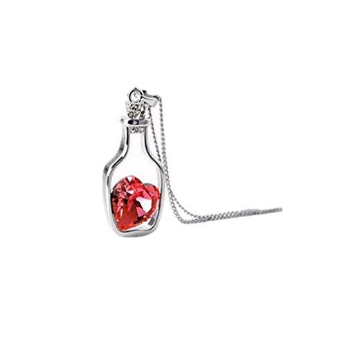 SUNSKYOO - Collar con colgante de cristal para decoración de boda, diseño de botella y clavícula, color blanco y rojo