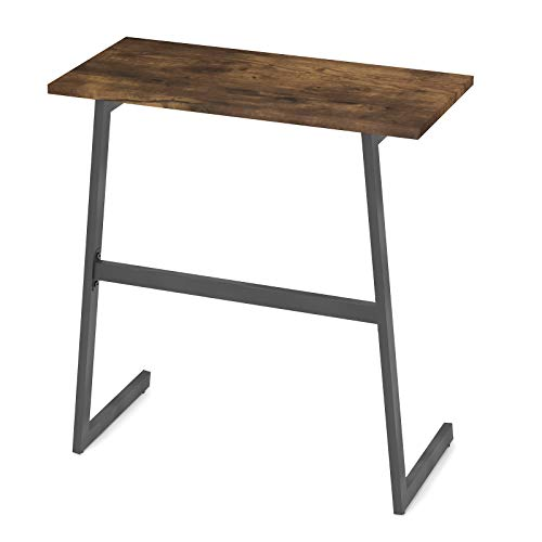 Kiimeey Slanted Foot Industrail Rustic End Table Narrow C-Shaped Couch Laptop Table Sofa Side Slim Small Table L23.6
