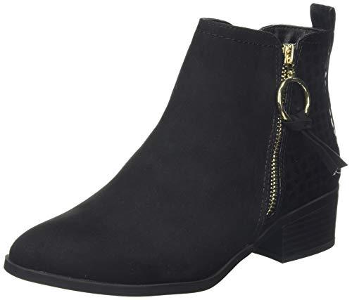 Dorothy Perkins Mynor Gold Trim Side Zip Ring Pull Boot, Bottes Classiques Femme, Noir (Black 010), 42 EU