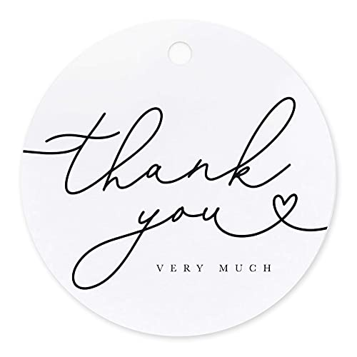 Bliss Collections Thank You Tags, 50 Black Script Gift Tags for Wedding, Bridal Shower, Baby Shower Favors - Perfect for Birthday, Events, or Celebration, (50 Pack)