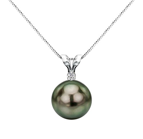 Sterling Silver Diamond Necklace Chain South Sea Tahitian Cultured Pearl Pendant Jewelry AAA 8-8.5mm