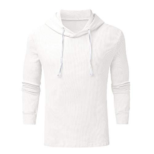 DNOQN Herren Mode Winter Langarm Reißverschluss Utility Sweatshirt Tops Bluse Weiß XXL