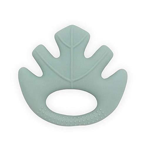 Jollein 101-001-65284 Gummi Beißring aus Naturkautschuk Blatt grün 9x9x2 cm