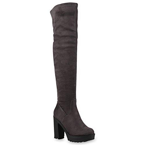 Damen Stiefel Overknees Wildleder-Optik Blockabsatz Langschaftstiefel Boots Schleifen Schuhe 126046 Grau Carlton 36 Flandell