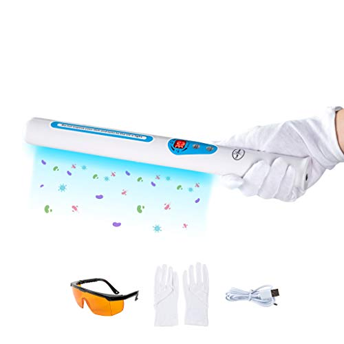 UV Light Sanitizer Wand - USA Professional Grade Portable UVC Sanitizer Lamp for Sanitizing Home, Office, Hotel, Salon, Car, School - Lab Certified and EPA Registered - Includes Safety Glasses, Gloves