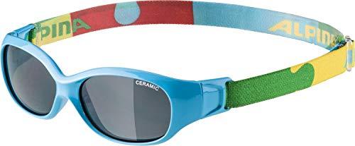 ALPINA Unisex - Kinder, SPORTS FLEXXY KIDS Sportbrille, cyan-puzzle gloss, One Size
