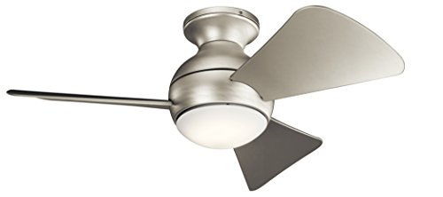 KICHLER 330150NI Protruding Mount, 3 Silver Blades Ceiling fan with 67 watts light, Brushed Nickel