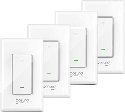 3 Way Smart Switch, Gosund Wifi Light Switch Works with Alexa and Google Home, Schedule Timer, Neutral Wire Required, Single-Pole and 3-Way Installation, No Hub Required, ETL and FCC listed (4-Pack)