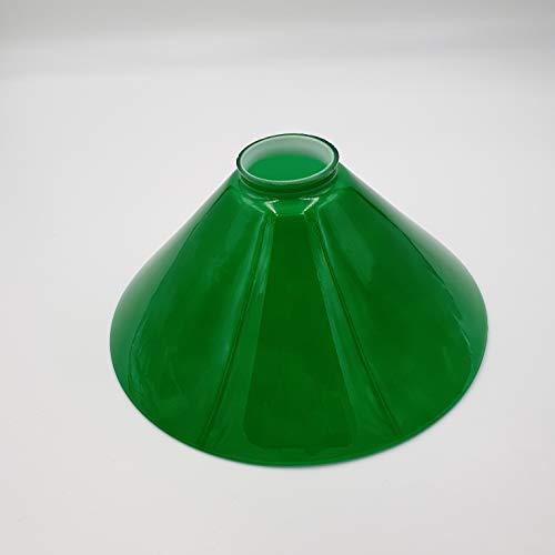 Pantalla de cristal de repuesto para lámpara de techo, estilo modernista, cristal opalino brillante, Art déco, diámetro de 250 mm (sombrilla con borde de cuello verde)