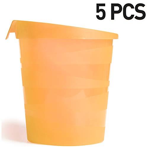 5 Cestini Gettacarte e Spazzatura con Maniglia, capacità 13 Litri   Arancione Ice