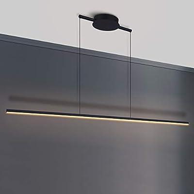 Zicbol Kitchen Island Pendant Lighting 40.94 Inch Linear Light Fixture Chandelier 16W 3000K Warm Light Dimmable LED Hanging Light Fixture for Dining Room, Kitchen, Breakfast Bar, Living Room Black