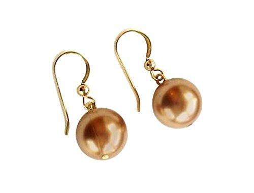 Gemshine - Damen - Ohrringe - Perlen - Tahiti - Champagner - Vergoldet - 12 mm