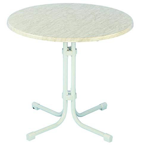 acamp Esstisch Gartentisch Bistrotisch Piazza 80cm rund weisses Gestell mit Weiss marmorierter Topalit Tischplatte