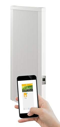 Calefactor eléctrico de 1800 W (altura de construcción) con núcleo de arcilla refractaria, radiador eléctrico con piedra de memoria de arcilla refractaria con termostato.