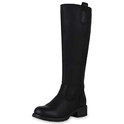 SCARPE VITA Klassische Damen Stiefel Gefütterte Leder-Optik Schuhe Profilsohle Boots Freizeitschuhe Holzoptikabsatz 170760 Schwarz Total 39