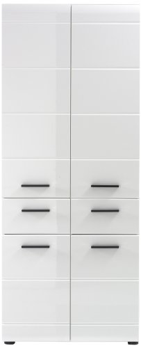 trendteam smart living Badezimmer Hochschank Schrank Line, 60 x 182 x 31 cm, Hochglanz-weiß