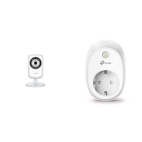 D-Link DCS-932L - Cámara WiFi y Ethernet Videovigilancia IP, Micrófono y Visión Nocturna, Compatible con App Mydlink + TP-Link HS110 - Enchufe Inteligente inalámbrico con monitorización de energía