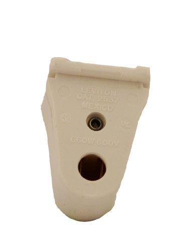 Leviton 2537 Slimline Base, Single Pin, Standard Fluorescent Lampholder, Pedestal, Slide-On Lock-On, Stationary, Quickwire 18AWG Solid or Str Tinned, White
