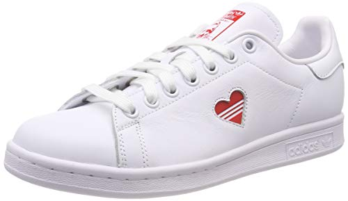 adidas Stan Smith W, Scarpe da Ginnastica Donna, Bianco (Ftwr White/Active Red/Ftwr White Ftwr White/Active Red/Ftwr White), 44 EU
