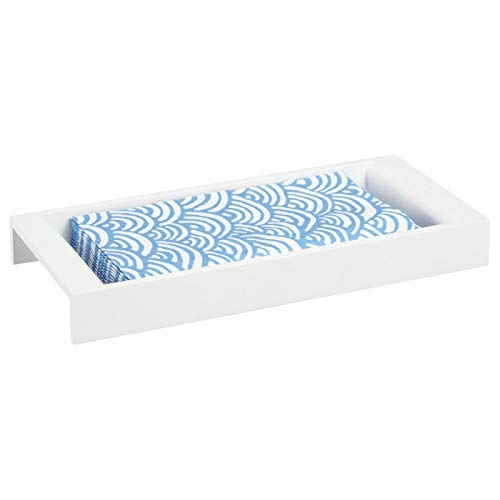 mDesign Kosmetik Aufbewahrung – stilvolles Kosmetiktablett aus Bambus für Lotion, Schminke und Accessoires – handliches Ablagesystem für den Waschtisch im Badezimmer – weiß