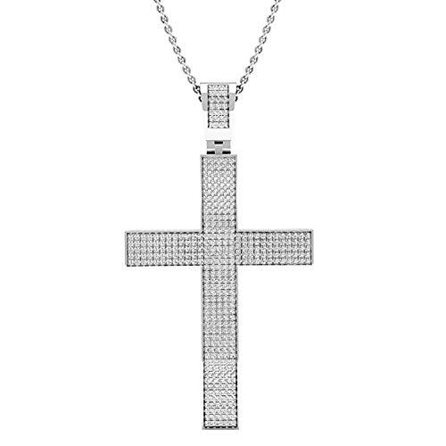 Dazzlingrock Collection 0.73 Carat (ctw) Round White Diamond Mens Hip Hop Religious Cross Pendant 3/4 CT, 925 Sterling Silver