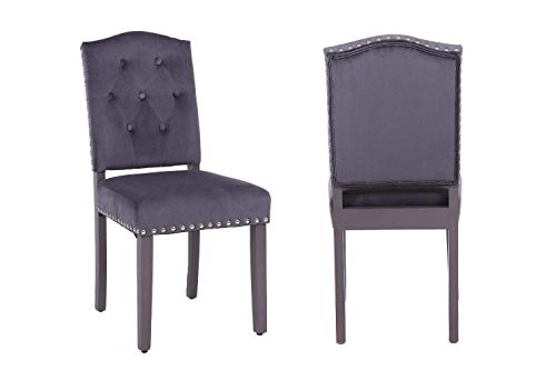 PS Global - Juego de 2 sillas de Comedor con Respaldo de botón, con Tachuelas cromadas, de Terciopelo, para Cocina, Comedor, hogar, Patas pintadas en satén Gris, fácil de Montar (Gris Oscuro)