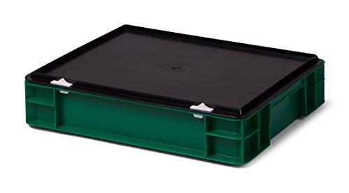 Euro-Transport-Stapelbox/Lagerbehälter, grün, mit schwarzem Verschlußdeckel, 400x300x86 mm (LxBxH), Wände u. Boden geschlossen, aus PPN