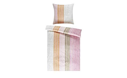 Bettwäsche 135x200 Satin Lila Streifen 2tlg LAVIDA Bettgarnitur Bettbezug, Farbe-Dekor:Rosa-Orange-Weiß-Braun