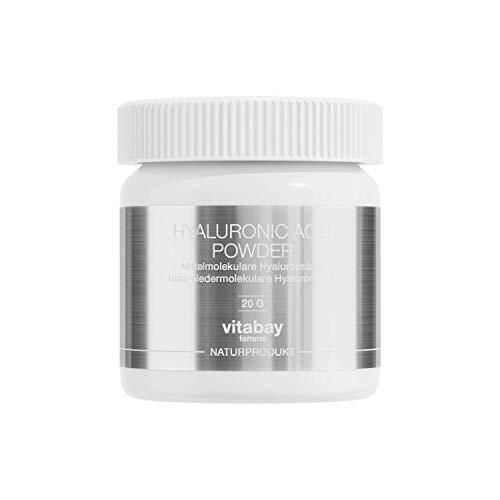 Vitabay Hyaluronic Acid 20 g • Hyaluronsäure Pulver • 100% rein • Zur Herstellung von DIY-Kosmetika und Beauty-Drinks