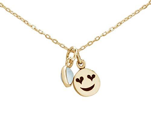 Gemshine Halskette Emoji mit Herzaugen Anhänger in 925 Silber, vergoldet oder rose mit CHALCEDON an 45cm Kette. Nachhaltiger, qualitätsvoller Schmuck Made in Spain, Metall Farbe:Silber vergoldet
