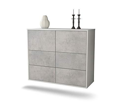 Dekati dressoir Brownsville hangend (92 x 77 x 35 cm) corpus wit mat | Voorkant beton look | Push-to-Open