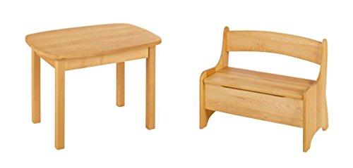 BioKinder 24787 Spar-Set Levin Kindertisch mit Kindersitzbank aus Massivholz Erle