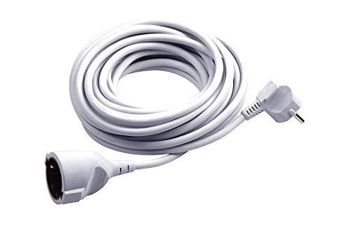 Meister Schutzkontakt-Verlängerung - 10 m Kabel - weiß - Kunststoffleitung - IP20 Innenbereich / Kupplung mit Berührungsschutz / Schuko-Verlängerung / 7432910