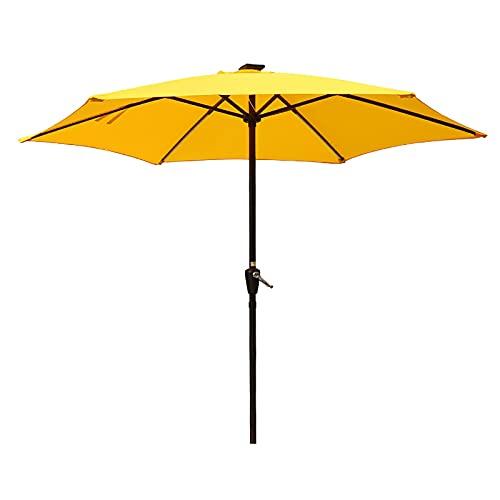 GYX-Décoration Parasol Jardin, Sombrilla Solar para Patio con de Luz LED, Sombrilla Exterior, con Manivela, para Exteriores, para Jardín, Terraza, Piscina y Playa (Sin Base)