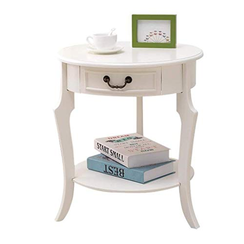 Coffee Table Side Table Round Storage Table Wood White