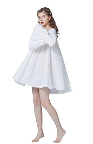 BEAUTELICATE Viktorianisches Nachthemd Langarm Baumwolle Kurz Nachtkleid Für Damen Braut Retro Nachtwäsche Mittelalterliche Renaissance Blouse