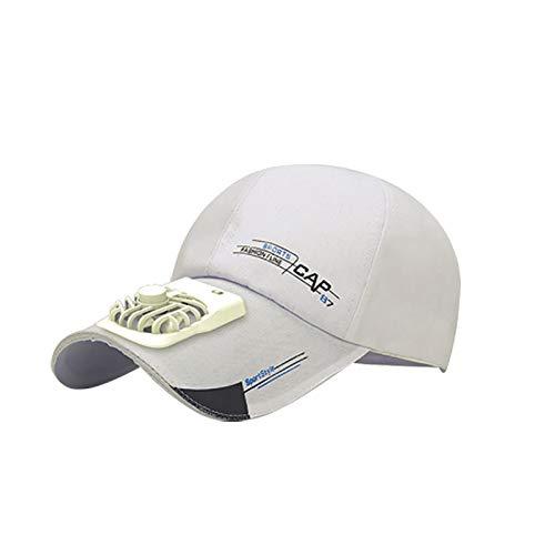 JQU Baseball Cap mit Lüfter USB Sommer Outdoor Hut Kappe, Kappe mit Lüfter für Wandern Radfahren Sport Reise Freizeit,kuehlen Ventilator Fuer Golf Baseball Sport (Weiß)
