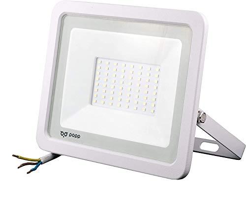 POPP® juegos de 5 y 10 Floodlight Led Foco Proyector Led 10w 20w 30w 50w para Exterior Iluminación Decoración 6000k luz fria Impermeable IP65 Blanco transparente y Opal (Focos blanco 50w, 10 unidad)