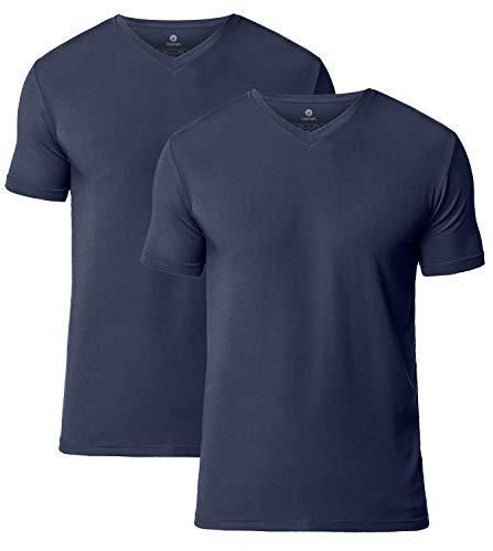 LAPASA 2er Pack Herren T-Shirts - SUPER WEICHES Micromodal - Business Kurzarm Unterhemd mit V-Ausschnitt Für Männer M08