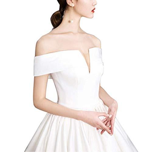 FTFTO Inicio Accesorios Vestido Elegante y Sencillo - Vestido francés de satén Novia Súper Hada Hombro con Cuello en V Malla Simple Vestido Rojo Claro (Blanco) Mediano