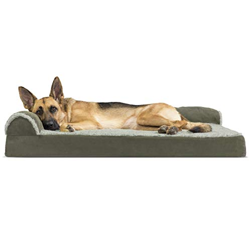 Furhaven Pet Dog Bed - Deluxe Memory Foam Two-Tone Plush Faux Fur & Suede L Shaped Chaise Lounge Living Room Corner Couch Pet Bed w/ Removable Cover for Dogs & Cats, Dark Sage, Jumbo