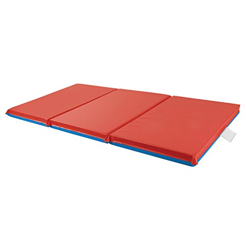 ECR4Kids-ELR-0575 Premium 3-Fold Daycare Rest Mat, Blue and Red (2' Thick)