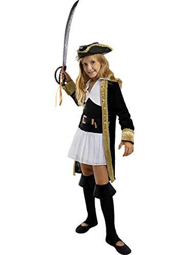 Funidelia | Disfraz de Pirata Deluxe- Coleccin Colonial para nia Talla 10-12 aos Corsario, Bucanero - Color: Negro - Divertidos Disfraces y complementos